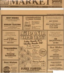 Grand Opening Newspaper ad from 1994